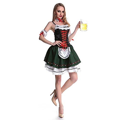 German Girl Outfits (HDE Womens Ocktoberfest Halloween Costume Beer Maid Dress w/ Garter & Arm Bands)