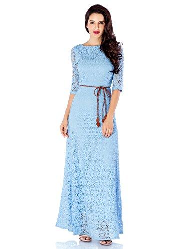 LookbookStore Women's White 3/4 Sleeve Wedding Plus Size Lace Maxi ...