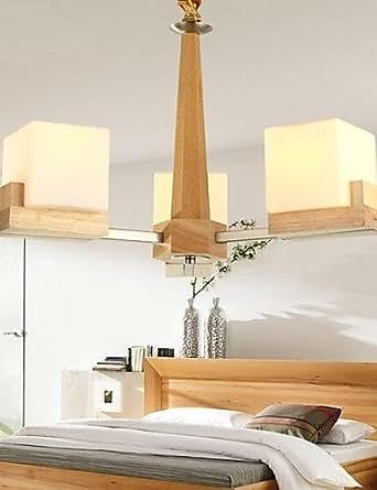Oak Lamp, Three Pendant Lights, Oak and Glass para HY9023 (220 V)