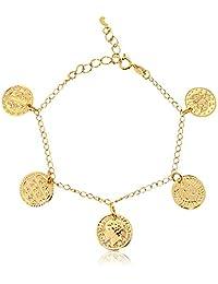 Pulseira Medalhas Folheado em Ouro 18 K