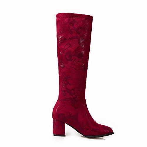 Charm Foot Mujeres Fashion Rodilla Alta Chunky Botas De Tacón Alto Rojo