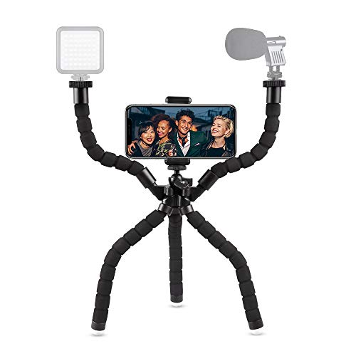 Phone Camera Tripod Rig, UBeesize Flexible Smartphone Video Stabilizer Tripod for Filmmaking Recording Vlogging with Bluetooth Remote Shutter, Compatible with iPhone/Android Cell Phone/GoPro