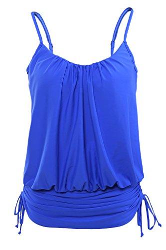 Adjustable Top Brazilian Tie (Aleumdr Womens Blue Retro Swimdress Swing Strap Tankini Swim Top Large)