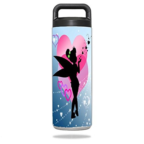 Trendy Accessories Cute Fairy Silhouette with Pink Hearts Kiss Design Print Image Vinyl Decal Sticker for Yeti Rambler Bottle 18 oz Ounce