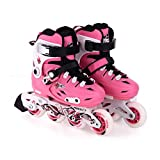 YANGXIAOYU Adult Beginners Children's Inline Skates, Professional Roller Shoes, Anti-Collision Shock Wheel, Blue Red Pink (Color : Pink, Size : 28-31)
