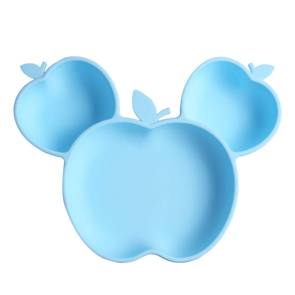 Cute Fruit Apples Shaped Baby Divided Kids Child Feeding Plate with Suction Cup for Dinner Table Reusable Silicone Placemats Toddlers Desk Mat Waterproof No Slip Portable