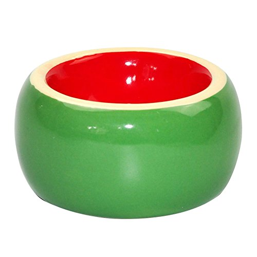 Hamster Food Bowl Ceramic Prevent being Tipped over Small Animal Water Dish for Guinea Pig Rodent Gerbil Cavy Hedgehog Feeding Bowl (Watermelon) by OMEM (Image #2)