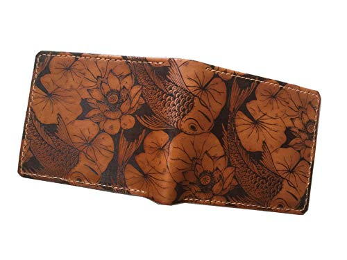 Unik4art - Koi Fish personalized leather handmade men's bifold wallet, minimalist accessories Japanese style anniversary gifts - 1SA - High Koi Japan Quality