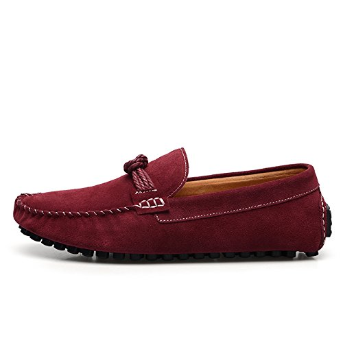 SUNROLAN Mens Casual Suede Loafers Slip On Flat Moccasins Penny Loafer Casual Boat Driving Shoes 7597 Wine Red NPg7XPd