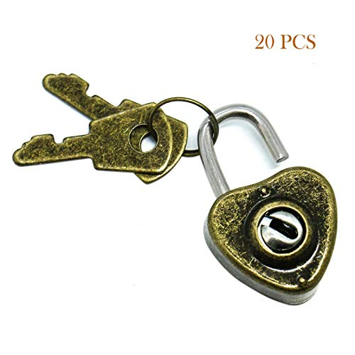 Timoo Vintage Mini Heart Padlocks with Key, Antique Style Archaize Lock with Key for Jewelry Box Storage Box Diary Book, a Pack of 20
