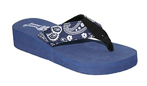 Ladies Bandana Paisley Print Sandal, BLUE, SIZE 6US
