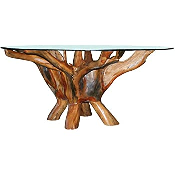 240a9cb5b7c7 CHIC TEAK Teak Root Coffee Table Including 43 Inch Round Glass Top Made