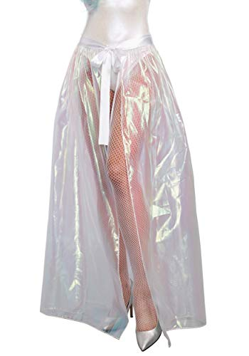 (Dreamgirl Women's Iridescent Sparkly Costume Maxi Skirt, Clear)