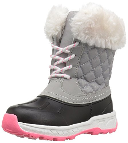 carter's Girls' Vermont2 Cold Weather Snow Boot, Black/Grey, 6 M US Toddler