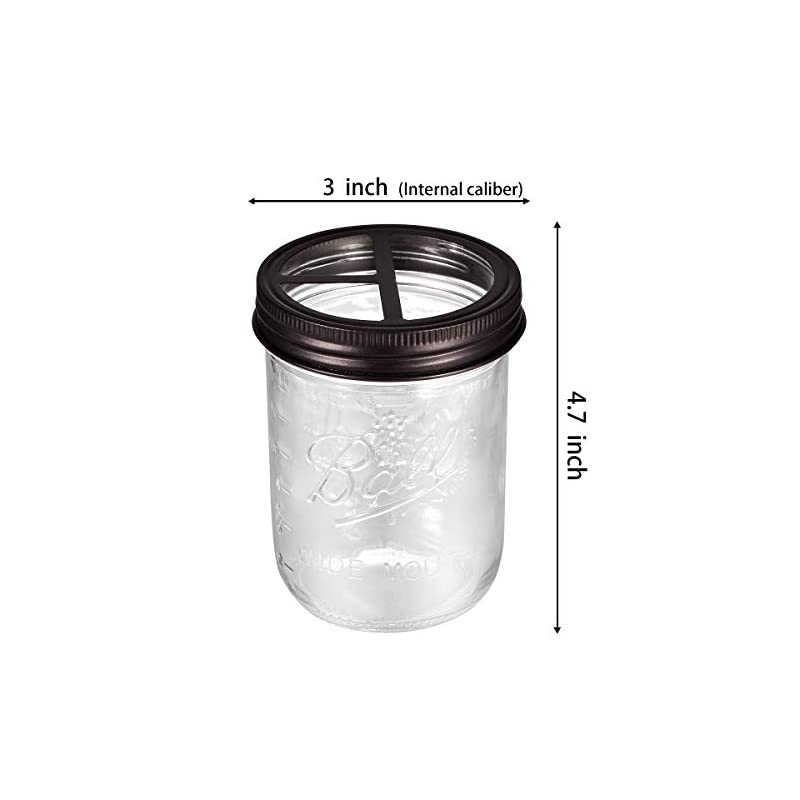Mason Jar Toothbrush Holder - Bronze - with 16 ounce Ball Mason Jar,Premium Rustproof 304 Stainless Steel Lid and…