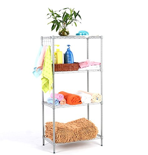 2016 New 4 Classic Silver Langria 4-Tier Classic Wire Storage Rack Shelving Rack Shelving Unit US UK Domestic Delivery