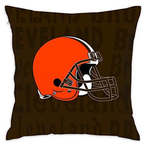 Gdcover Custom Colorful Cleveland Browns Pillow Covers Standard Size Throw Pillow Cases Decorative Cotton Pillowcase Protecter with Zipper - 18x18 Inches