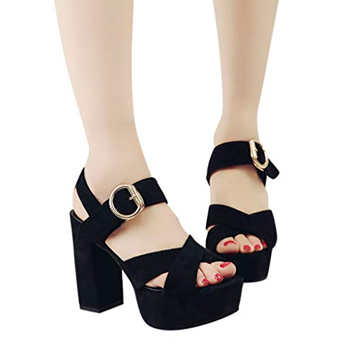 Xinantime Women's Fish Mouth Sandals Square Heel Metal Buckle High Heel Cross Belt Casual Shoes Black ()
