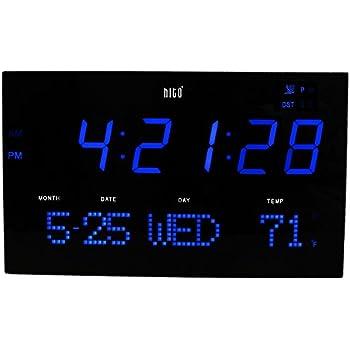 Amazon Com Acurite 75152m Oversized Blue Led Clock With