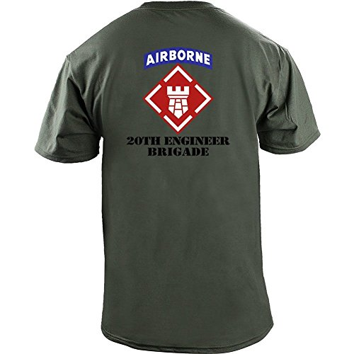 Brigade Fitted T-shirt - USAMM Army 20th Engineer Brigade Veteran Full Color T-Shirt (XL, Green)