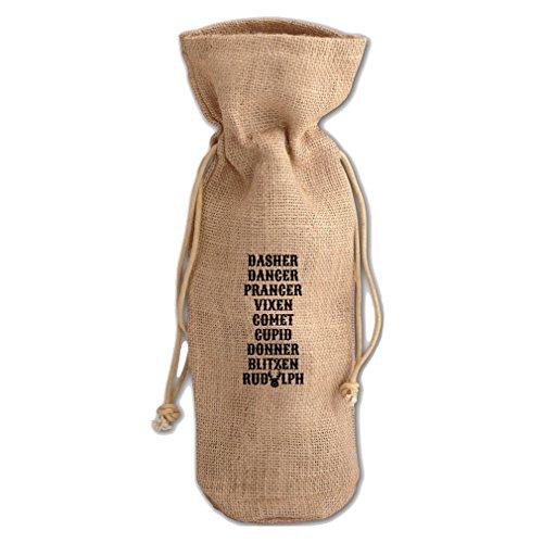 Christmas SantaS Reinders Names Burlap Wine Drawstring Bag (Santas Reinders)