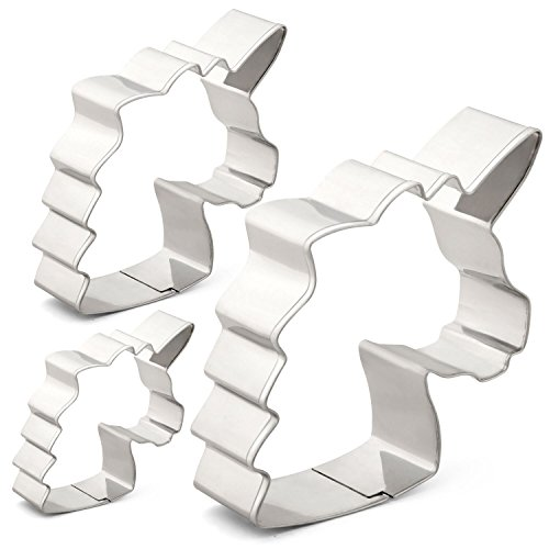 Unicorn Head Cookie Cutter Set - 3 Various Size - Large/3.5 Inches, Medium/2.6 Inches, Small/1.6 Inches - Stainless Steel