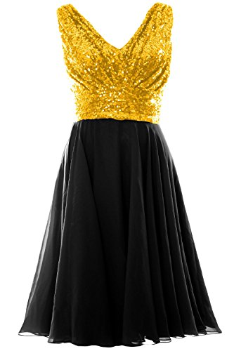 MACloth Women V Neck Sequin Chiffon Short Bridesmaid Dress Formal Evening Gown Wine Red