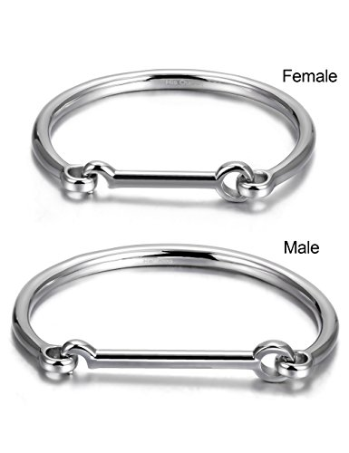 JINBAOYING His & Hers Couples Gifts Stainless Steel Flat Head Screw Bar D-shape Cuff Bangle Bracelet White(2pcs) (Bracelets White Gold Slide)