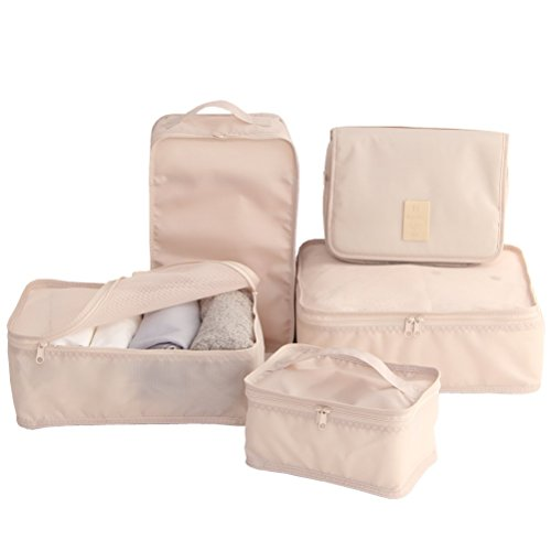 Travel Packing Cubes 7 Set, JJ POWER Luggage Organizers with toiletry kit shoe bag (5 set Beige)
