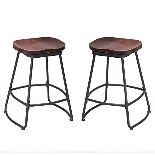 Tongli Contoured Saddle Seat Bar Stool Swivel Chair for Home Kitchen Island or Counter Set of ()