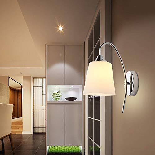 Maikouhai E27 Indoor Wall Light Fixture Modern Bedroom Bedside Wall Lamp Glass Shade White Lighting for Living Room Corridor Hallway Aisle Entrance Decor