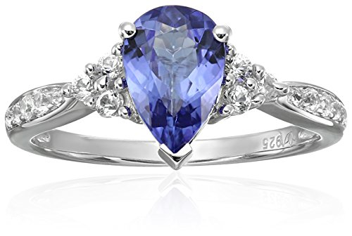 Sterling Silver AAA Tanzanite And Created White Sapphire Classic Engagement Ring, Size 7 by Amazon Collection