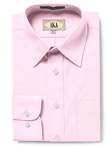 (AKA Boys Solid Dress Shirt - Button Down Long Sleeve Wrinkle Free - Pink 12)