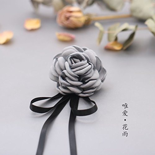 Brooch female small fresh cotton big flower pin collar shirt collar pin black ribbons wild flower brooch accessories (Brooch Wildflower)