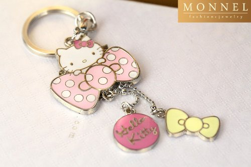 Z71 Adorable Hello Kitty & Pink Bow Charms Keychain Key -