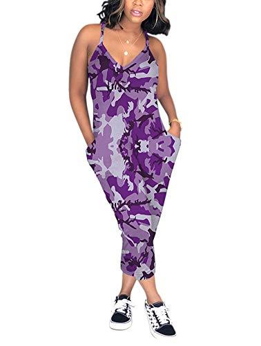 Women's Loose Capri Jumpsuits - Casual Camouflage Racerback V Neck One Piece Romper XX-Large Purple Camouflage