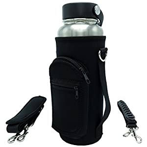 40 oz Water Holder Sleeve Carrier for Hydro Flask Type Bottles with Adjustable Shoulder Sling and Hand Strap Carrying Handle with Pouch Pocket made of Neoprene - for Hiking, Travel & Gym Gear (Black)