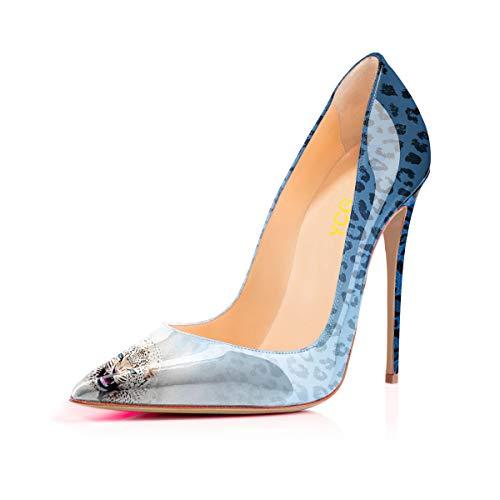 Delle Pompe Talloni Modello Scarpe Donne Stampa Alti Leopardo Blu Sulle Ycg Degli Slittamento Mucca Sfumato 4atwaUqr