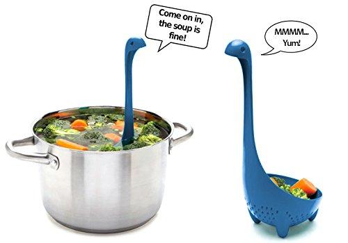 Nessie Colander Ladle - Blue Self-Standing Dino Colander Serving Strainer Utensil for Soups, Stews, Pasta and More