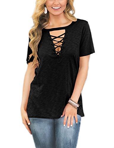 (Womens Summer V-Neck T-Shirts Tops Plus Size Black XXL)