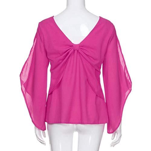 V Tétrothales Longues shirt Rose Élégantes Chemises Manches T Col xS4zAWCqw