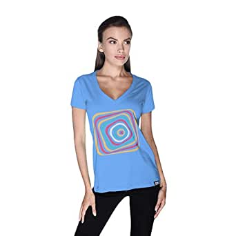 Creo Abstract 03 Retro T-Shirt For Women - Xl, Blue