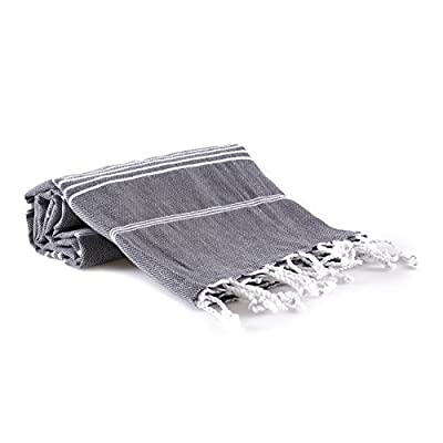 realgrandbazaar Pestemal Turkish Towel%100 Cotton - Pre Washed, More Softly 39 x 69 Peshtemal, Beach, Bath, Spa, Hammam, Super Soft Towels (Dark Grey) - √ HIGHEST QUALITY - 100% Pure Turkish Cotton, Bath Towel, Many Colors Bright Colors, dyed to ensure years of vibrant color. Easy way to refresh your bathroom's décor, and upgrade your home for a spa-like experience every day. √ LIGHWEIGHT & LESS SPACE: Rolls up neatly to pack & go. Perfect for beach, pool, spa, sauna, gym, yoga, travel, camping and picnic. Less storage space, take up about a quarter of the space of a traditional plush towel. Easily stack on small bathroom display shelves or hang on wall-hooks. √ QUICK DRYING: Dries way more quickly both by air and tumble drier (about 20 min on low temp as opposed to 60 min on high for terry towels). The perfect new beach towel, so ditch your heavy sand-covered towel and streamline your summer. Turkish towel range is perfectly suited for the bathroom and outdoors. Can be used on the beach, in the home, on the road and your options are endless. - bathroom-linens, bathroom, bath-towels - 41ifv YyoUL. SS400  -