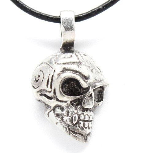 Leather Skull Pendant (Pewter Skull Maori Tribal Gothic Pendant, Leather Necklace)