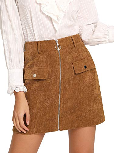 (WDIRA Women's O Ring Zip Front High Waist A-line Mini Short Bodycon Skirt Brown M)