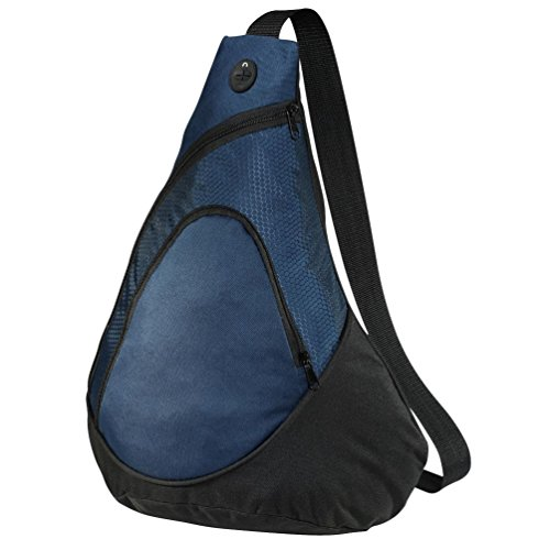 Denier Polyester Drawstring Backpack - Port & Company luggage-and-bags Improved Honeycomb Sling Pack OSFA Navy