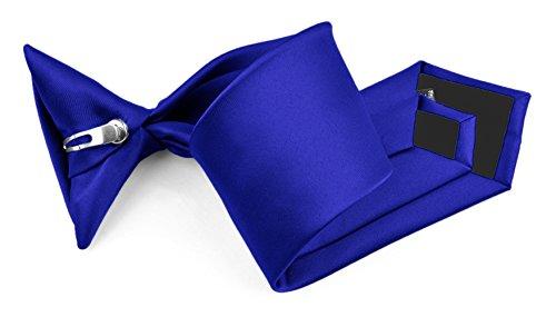 (Moda Di Raza - Boy's NeckTie Solid Clip on Polyester Tie - Boys' Kids' Children's Solid Color Boys Formal Wear Pre-Tied Polyester Clip Necktie - Royal)