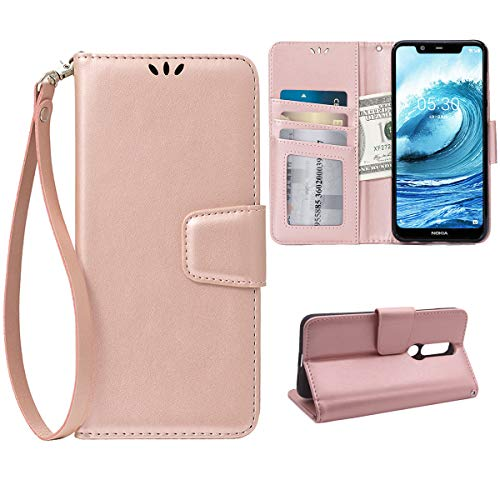 Flip Case for Nokia 6.1 Plus/X6, Scratch-Proof Leather Wallet Stand Cover with Card Holder Phone Case Protector for Nokia 6.1 Plus/X6, Rose Gold