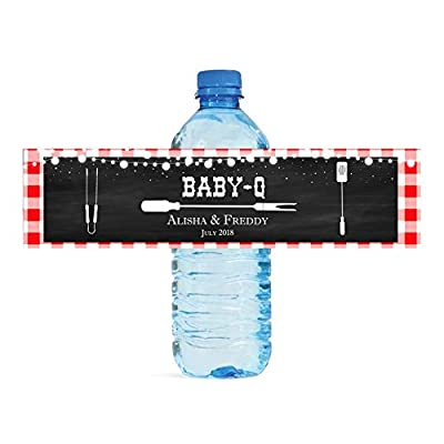 Baby Q Chalkboard & Gingham Baby Shower Reveal Party Water Bottle Labels Great for Your Events Party Easy to Apply and use Cookout BBQ: Health & Personal Care
