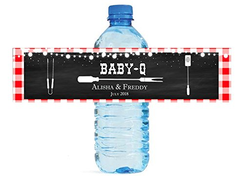 Gingham Labels - Baby Q Chalkboard & Gingham Baby Shower Reveal Party Water Bottle Labels Great for Your events Party easy to apply and use cookout BBQ